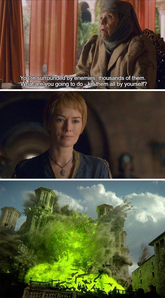 7. Leydi Olenna'nın 6. Sezonun son bölümünde tüm ailesini kaybettiğini göz önünde bulundurursak, yine sezon 6'da bu lafı söylediğine biraz pişman olmuştur.