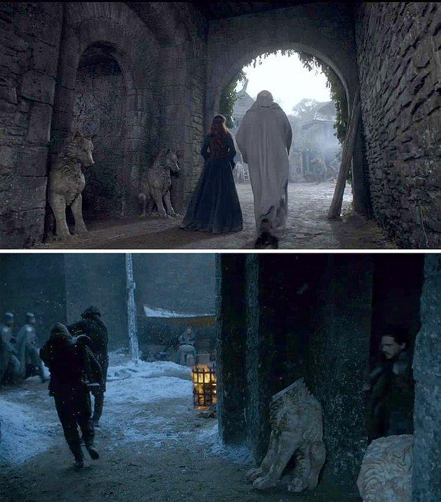 6. Ve Winterfell'in mahzen mezarını Sezon 1 ve Sezon 7'de koruyan taş heykelleri karşılaştıracak olursanız, Bolton'ların kaldıkları süre içerisinde cesur tasarım seçimleri yaptıklarını görebilirsiniz.