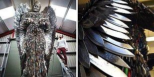Suça Karşı Farkındalık Yaratmak Amacıyla 100.000 Bıçaktan Yapılmış Dev Melek Heykeli!