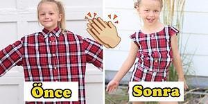 Geri Dönüşüm Candır! Eşinin Gömleklerini Kızlarına Elbise Dikmek İçin Kullanan Yaratıcı Anne