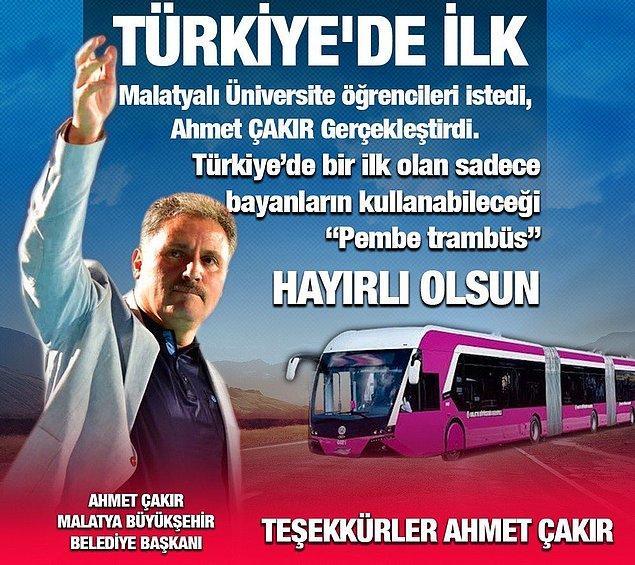 """Malatya Büyükşehir Belediye Başkanı AKP'li Ahmet Çakır, geçtiğimiz yıl aralık ayında sadece kadınların kullanacağı """"Pembe Trambüs"""" uygulamasına geçeceklerini duyurmuştu."""