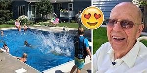 Bahçesine Yaptırdığı Havuzla Hem Yalnızlığını Gideren Hem Çocukları Sevindiren Tonton Amca