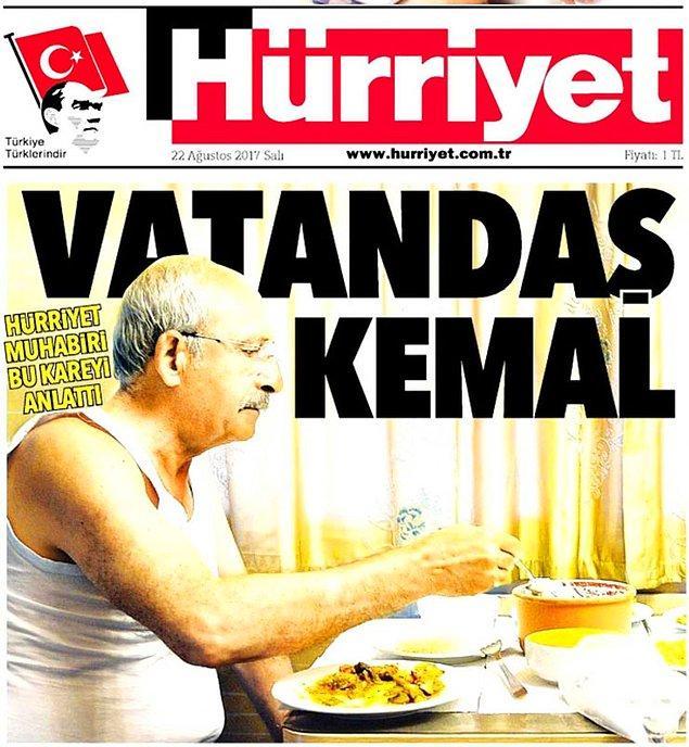 Hürriyet gazetesi söz konusu fotoğrafı 'Vatandaş Kemal' başlığıyla manşetine taşımıştı.