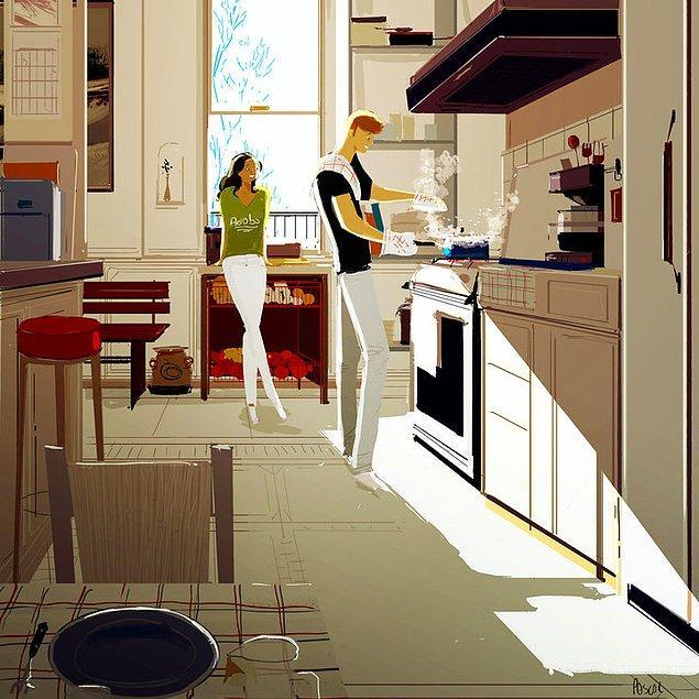 3. Sevgilisi yemek yaparken ona izleyenler yalnız değil. 🍳