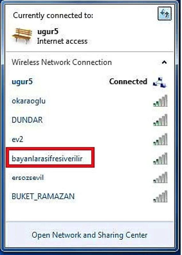 2. Şifresiz girilebilen wifi bağlantısı