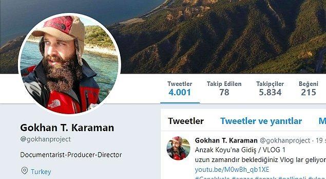 4. Gokhan T. Karaman: I. Dünya Savaşı ve özellikle Çanakkale Savaşı üzerine incelemelerde bulunan belgesel yönetmeni, paylaşımlarıyla anbean o günlere götürüyor.
