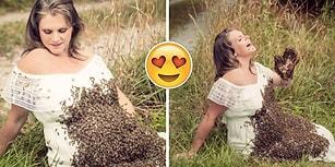 Sınırları Zorlamak İsteyen Hayvansever Anne Adayından 20.000 Canlı Arıyla Fotoğraf Çekimi