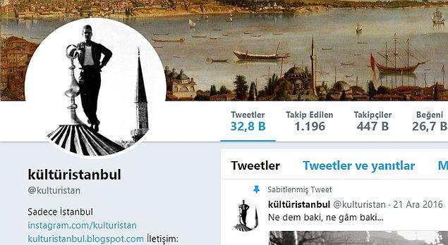 15. kültüristanbul: İstanbul'da yaşayan ve şehrin tarihine merak duyanlara muazzam bilgileriyle hizmet eden nadide hesaplardan.