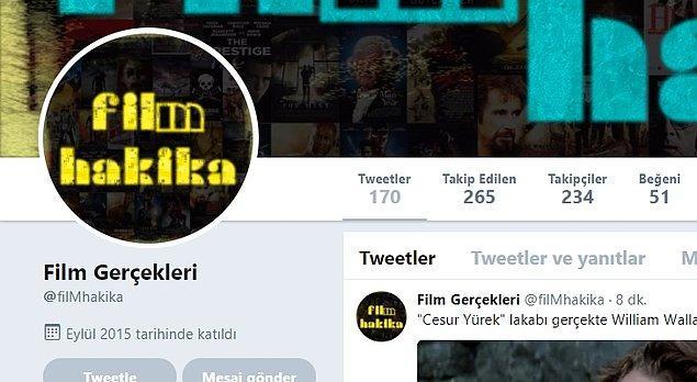 3. FilMhakika: Gerek Türk gerekse yabancı filmlerden daha önce pek duymadığınız ilginç bilgiler paylaşan sinemasever hesabı.