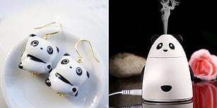 Siyah Beyaz Şapşik Ayı Modeli Sevenlerin Gözünden Kalpler Fışkırtacak 24 Panda Desenli Ürün