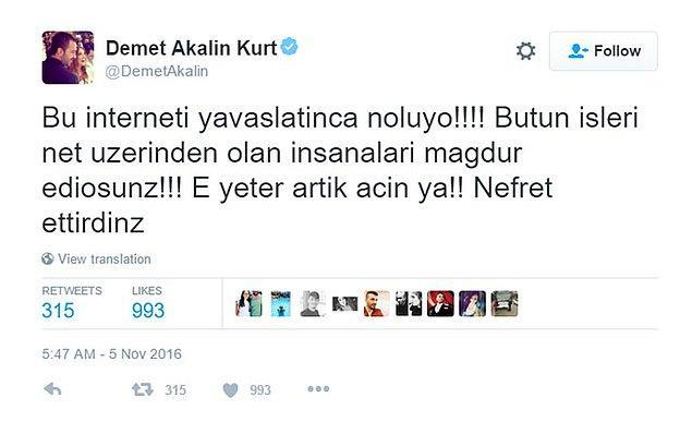 Demet Akalın, pop müzik piyasasına ne kadar hakimse sosyal medyaya da bir o kadar tutku ile bağlı. Bütün sinirini, sevincini, şaşkınlığını Twitter'da yaşıyor.