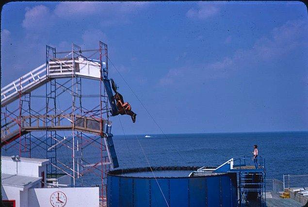 20. Atlantic City'nin Steel Pier parkında antrenman yapan bir at 1978.