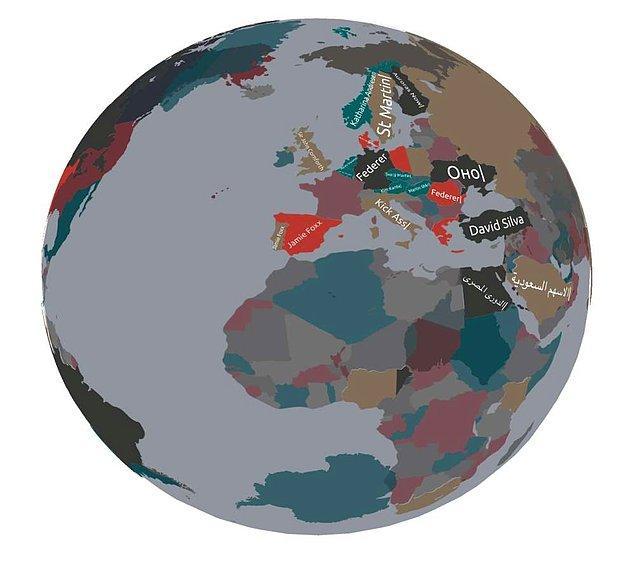 Dünya döndükçe her bir ülkede o anda yapılan Google aramaları listesinin en üst 10'u görülebiliyor.