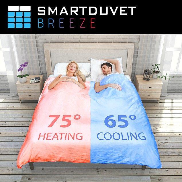 7. Smartduvet Breeze: Çift taraflı ısı ayarlayabilen ve kendi kendine yapılan yatak