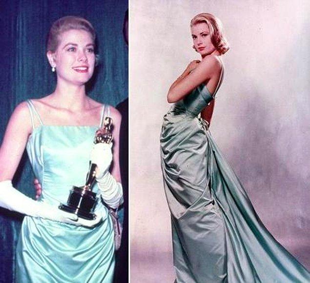 16. Grace Kelly'nin 1955 yılında giydiği Edith Head imzalı ipek elbise ki bu elbise 50'li yılların en pahalı elbisesiydi, tam olarak 35.000$ fiyatında!