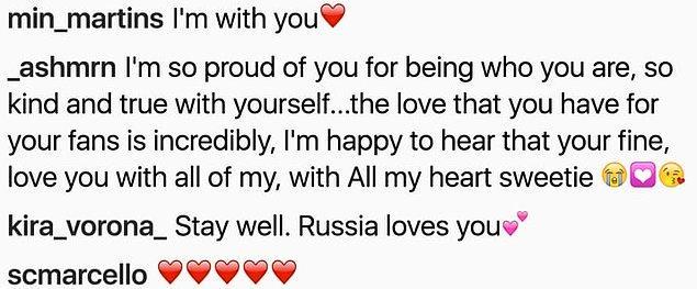 Selena bu gönderiyi paylaşır paylaşmaz bütün hayranları sevgi ve destek mesajlarını, kalpli emojilerle süslemeye başladı.