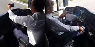 Otobüs Kullanırken Önce Sigara İçip, Sonra da Selfie Yapan Şoför