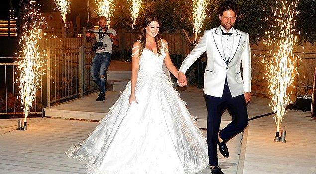 6. Gizem Karaca, düğününde üç boyutlu detayları olan bir gelinlik tercih etti.