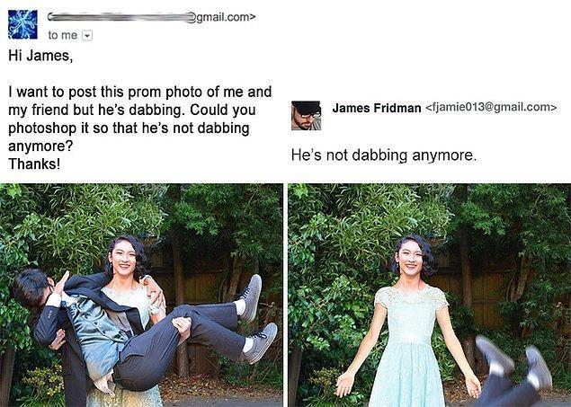 4. Balo fotoğrafında dableyen arkadaşının bu pozisyondan çıkmasını istemiş bu kız da.