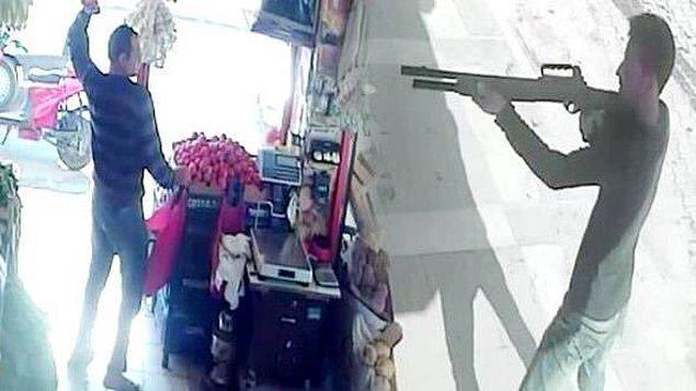 5. Dükkanına pompalıyla saldıran şahsa domates atarak karşılık veren yürek yemiş abi.