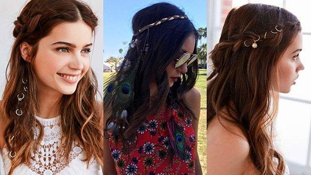 10. Saç aksesuarları deneyin, saçınızı farklı modellerde örüp bu şahane saç küpeleri, tüyler, ipler gibi aksesuarlarla tamamlayabilirsiniz.