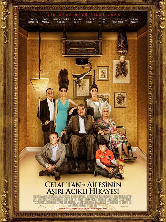 """Çerçeveletilmiş film afişleri ve """"Celal Tan ve Ailesinin Aşırı Acıklı Hikayesi""""."""