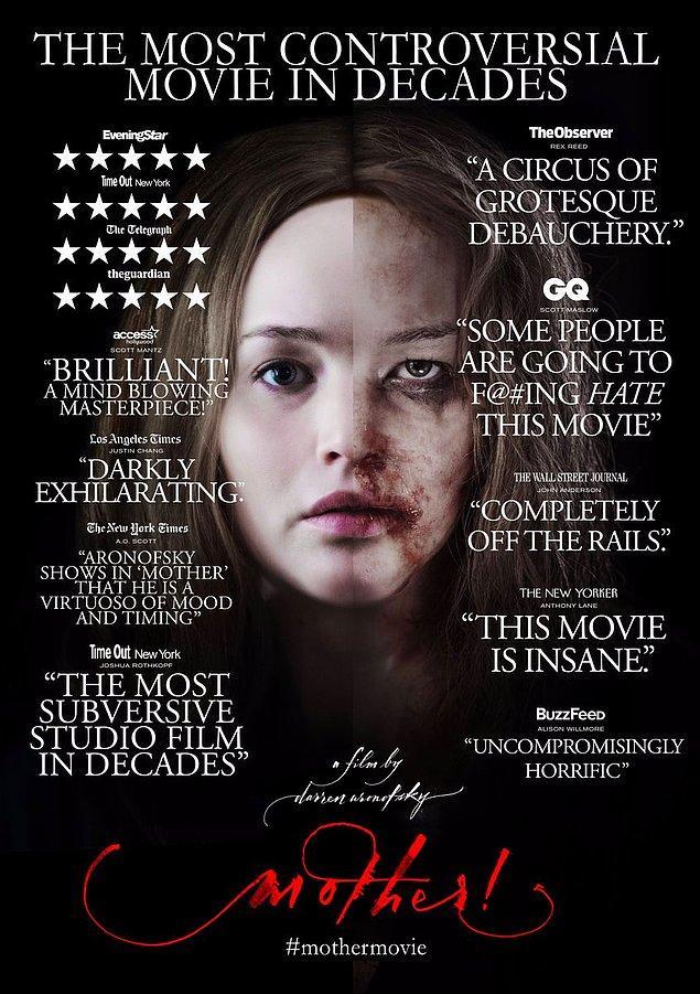 """8. Darren Aronofsky'nin """"mother!"""" filminden tartışmalı bir afiş yayınlandı. Filmin, seyircileri ve eleştirmenleri ikiye bölmesi temsil ediliyor."""