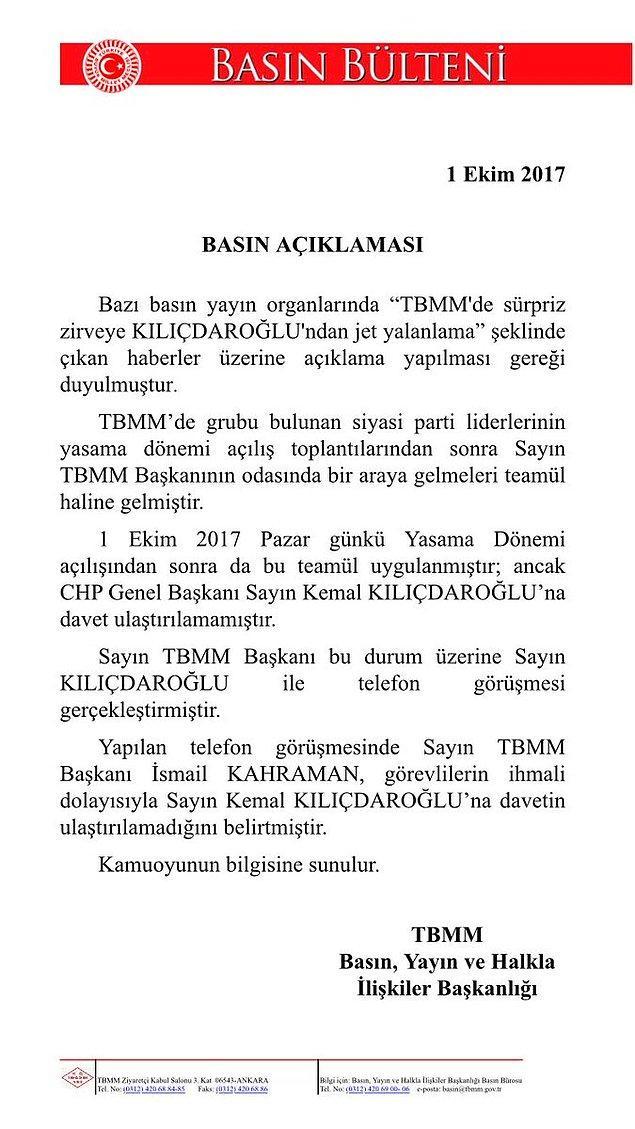 Kahraman'ın Kılıçdaroğlu'nu arayarak özür dilediği belirtildi. Ayrıca TBMM Başkanlığı'ndan açıklama geldi: 'Davet ulaştırılamadı'👇