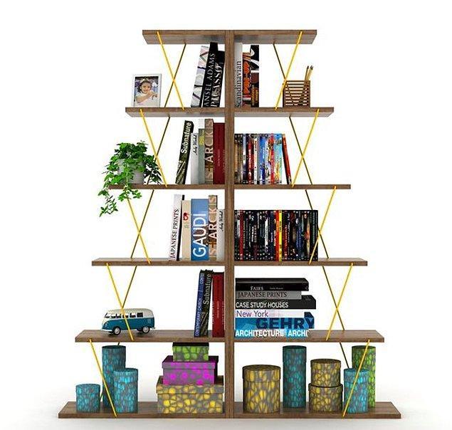 7. Çalışma odanıza modern bir tarz ve renk katacak olan bu kitaplık