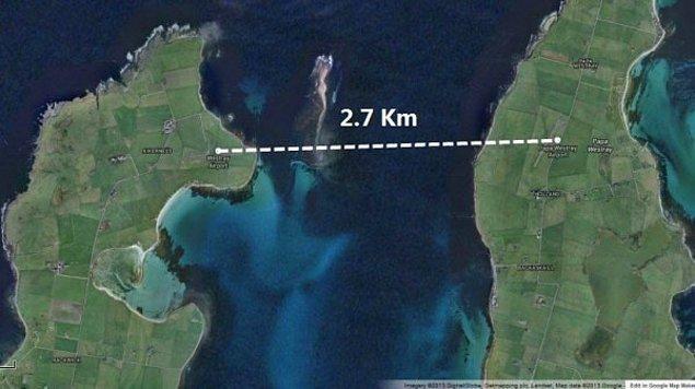 Aralarındaki mesafe sadece  2,3 kilometre.