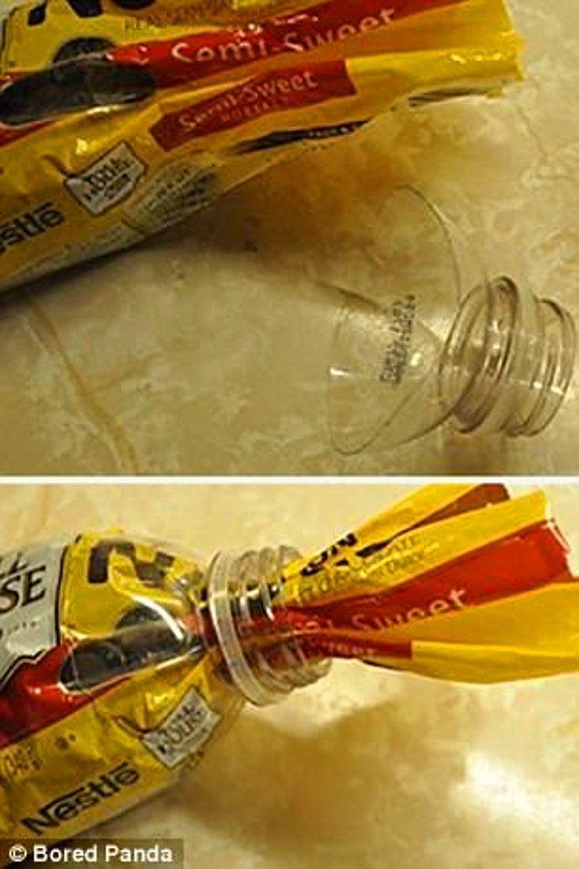 19. Pet şişenin uç kısmını keserek plastik ambalajlı ürünlere kapak yapabilirsiniz.