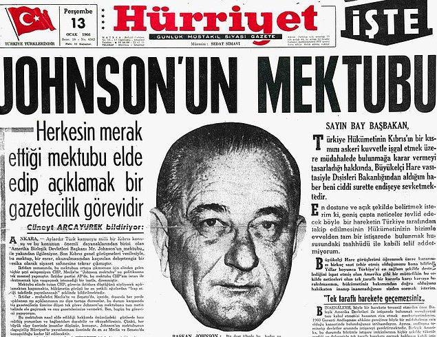 2. 1964 yılında dönemin ABD Başkanı Lyndon B. Johnson'ın Türkiye'ye mektubu ve İnönü'nün yanıtı.