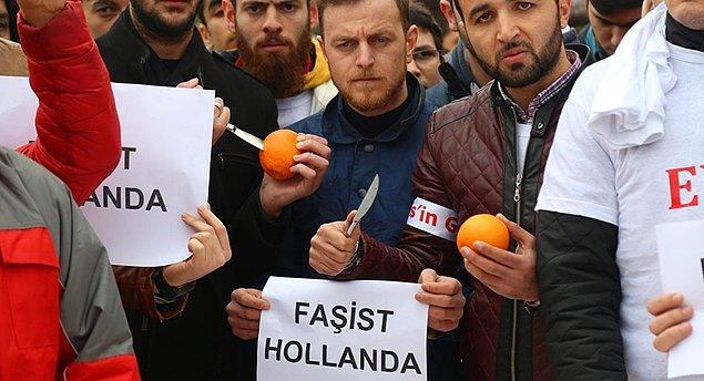 Aile Bakanı Kaya'nın Hollanda'dan sınır dışı edilmesinden sonra da protesto biçimi portakal bıçaklamak olmuştu.