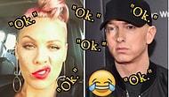 Yeni Şarkısı İçin İşbirliği Yapmak İsteyen Pink'e Yalnızca 'Ok' Yazarak Cevap Veren Eminem