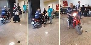 Gayet Normalmiş Gibi Hastaneye Motorla Dalan Dayı
