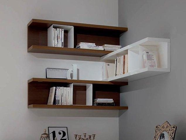1. Rafları duvarların üst kısımlarına monte edin.