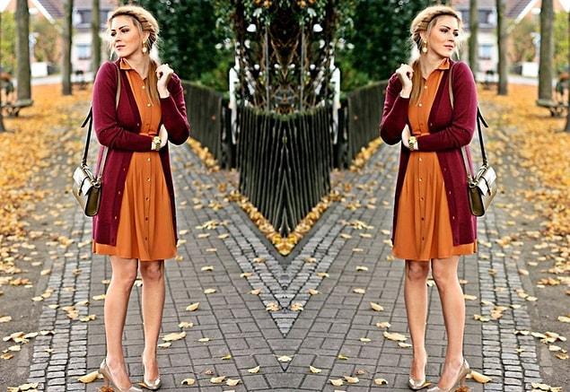 Canlı renkte bir elbisenin üzerine giyeceğiniz sıcak renklerde bir hırkayla soğuk havalarda sımsıcak bir stil yaratabilirsiniz.