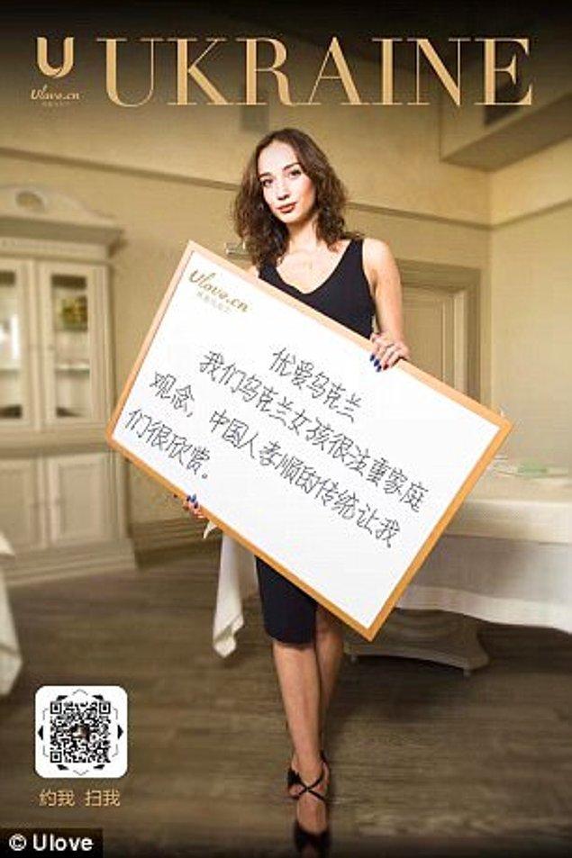 21 yaşındaki üye Karaline, Çinli erkeklerin Ukraynalı erkeklere göre çok daha ince ve düşünceli olduğunu belirtti.