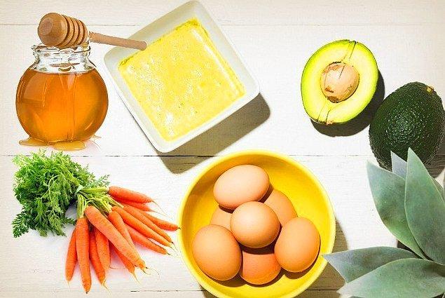 1. Havuç+Avokado+Bal+Zeytinyağı+Yumurta
