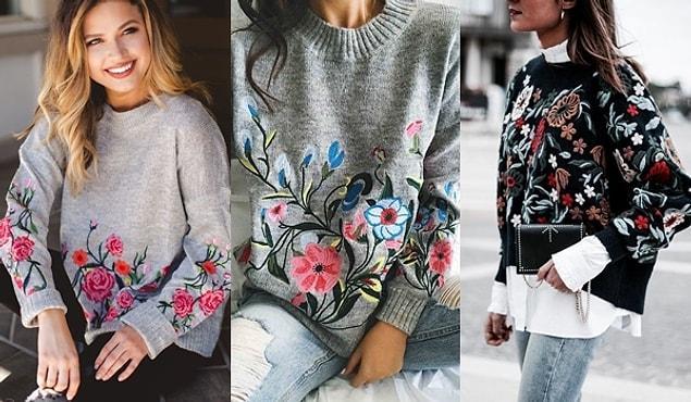 Minimallikten biraz uzaklaşıp çiçek işlemeli oversize kazaklarınızla da harika kış kombinleri elde edebilirsiniz.