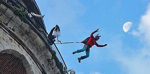 Ekstrem Sporcu Cengiz Koçak, Galata Kulesi'nden Tarihi Bir Atlayış Gerçekleştirdi