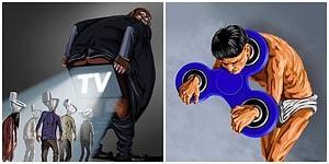 Modern Zaman Dünyasına Dair Acı Gerçeklerle Dolu 14 Gunduz Aghayev İllüstrasyonu