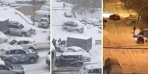 Yoğun Kar Yağışı Sonrası Rusya'da Araçların İnip Çıkmakta Zorlandıkları Yokuş