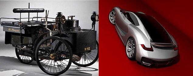2. Bundan 127 yıl önceki ilk arabadan, günümüzün tasarımda uçmuş spor arabalarına.