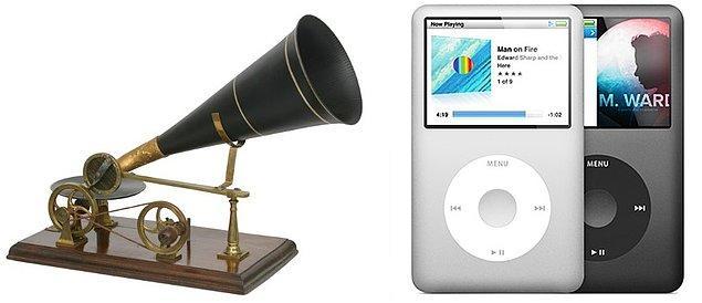 5. Dünyanın 1888 yılındaki  ilk gramafonundan, cebimizde taşıdığımız çeşit çeşit  Ipod modellerine.