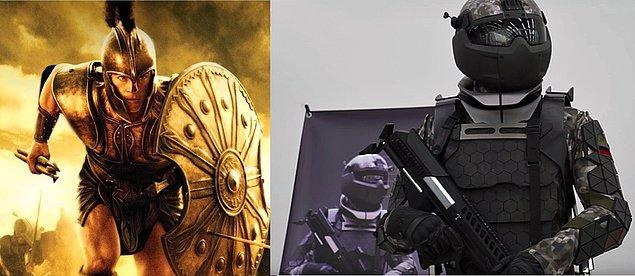 15. Eski tarihlerde deri elbise, kılıç ve kalkandan oluşan askerlerden, günümüzde robocop gibi dolaşan askerlere.