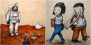 Ona Fransız Banksy Diyorlar! Sokak Ressamı Dran'in Herkesi Sorgulamaya Davet Eden Tartışmalı Duvar Resimleri!