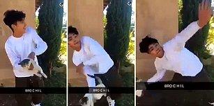 Kediyi Yola Fırlatarak Bacağının Kırılmasına Neden Olan Vicdansız Genç!
