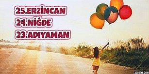 Türkiye'nin Mutluluk Oranı En Yüksek 25 Şehri