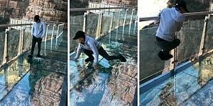 Çin'deki Korkutucu Cam Köprü Kırılırsa! İşte Korku Dolu Anlar!